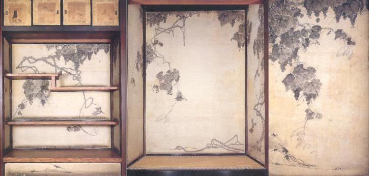 Grapes Wall Painting by Itō Jakuchū in Jōtenkaku Museum