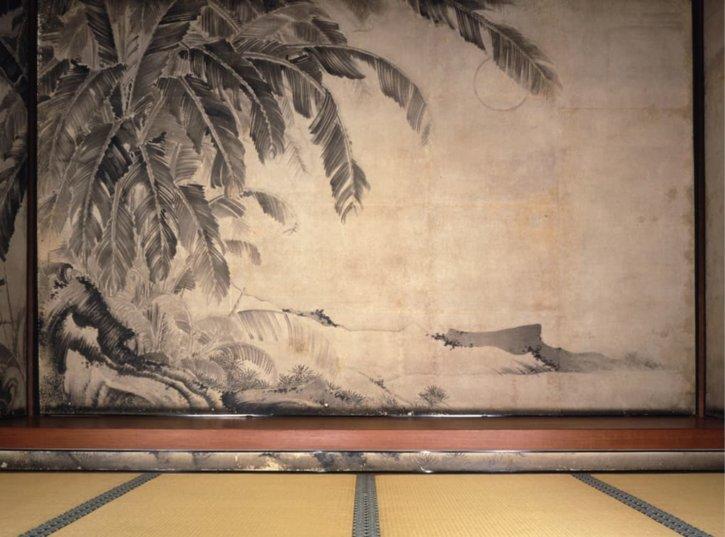 Japanese Banana Wall Painting by Itō Jakuchū in Jōtenkaku Museum