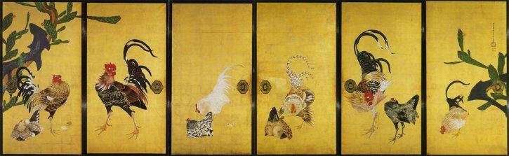 """Saboten Gunkei-zu Fusuma"" in Osaka's Saifuku-ji Temple by Itō Jakuchū"
