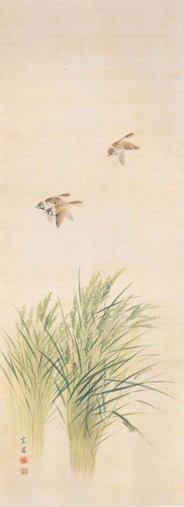 """""""Inaho Suzume-zu (Ears of Rice Plant and Sparrows)"""" by Nishiyama Kan-ei"""