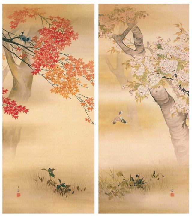 """Ōka Kōyō Kachō (Cherry Blossom with a Small Bird & Autumn Color of Leaves with a Small Bird) by Hasegawa Gyokujun"