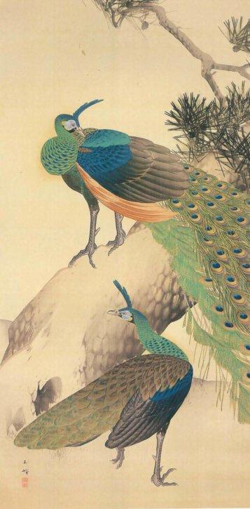 """Rōshō Kujakuzu"" (Peacocks on an old pine and ground) by Hasegawa Gyokuhō"