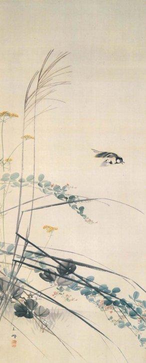 """Akikusa Shōkin"" (A Small Bird with Flowers and Leaves) by Hasegawa Gyokuhō"