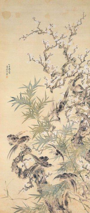 Baikayūchō (Plum Blossoms with Birds) by Yamashita Seigai