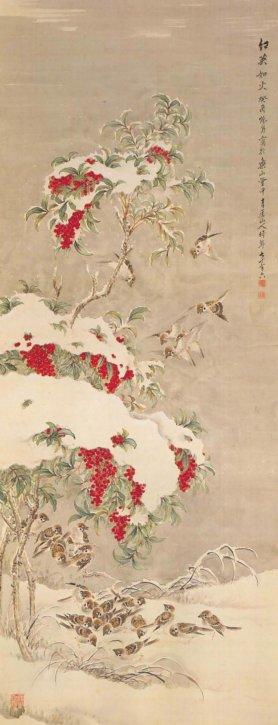 Secchū Nanten Gunjaku (Nandina with Snow and a Group of Sparrows) by Yamashita Seigai