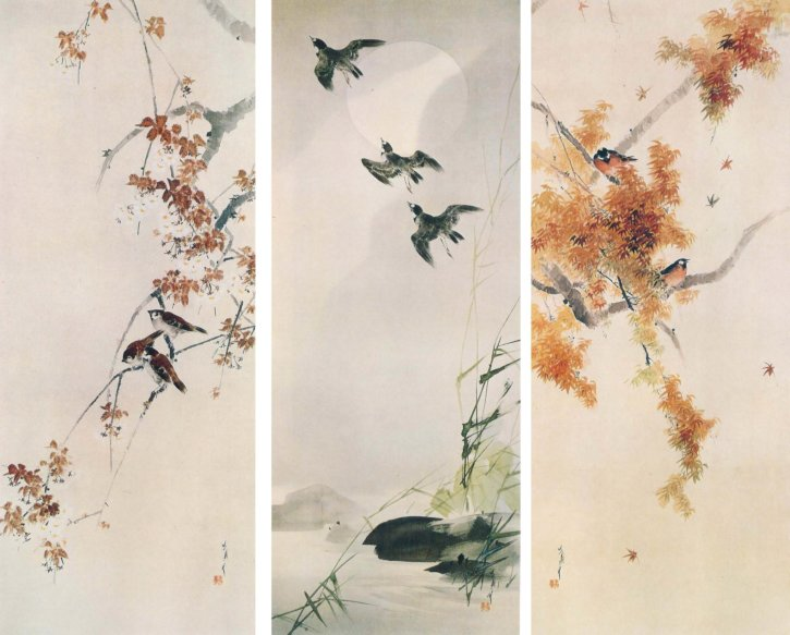 Cherry Blossoms with Sparrows The Moon with Plovers Autumn Leaves with Small Birds by Watanabe Seitei