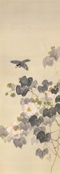 Cotton Roses and a Varied Tit by Watanabe Seitei