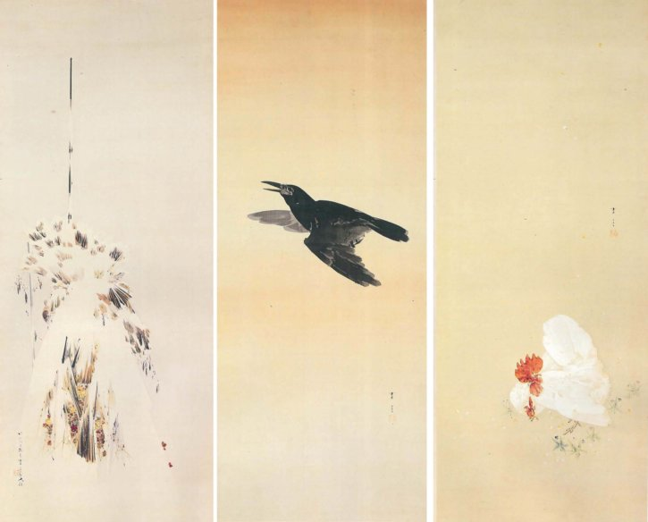 Winter Chrysanthemums A Crow at Dawn Rooster and Hen by Watanabe Seitei