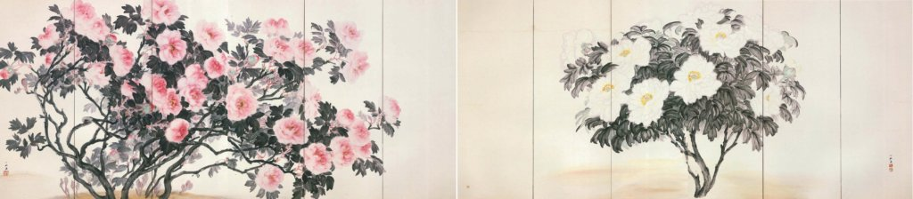 Screens of Red and White Peonies by Yamaguchi Hachikushi